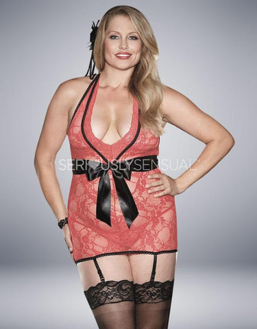 Intimate Attitudes Stretch Lace Gathered Chemise - Red - SeriouslySensual