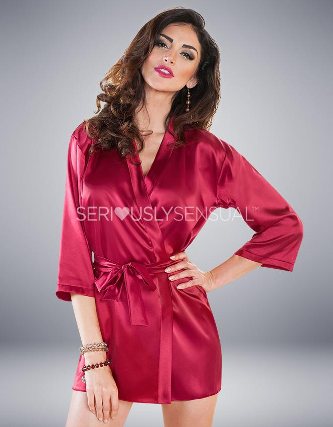 Irall Aria Dressing Gown Burgundy - SeriouslySensual