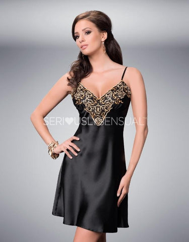 Irall Luna Black-Gold Nightdress - Extra Large - SALE - SeriouslySensual