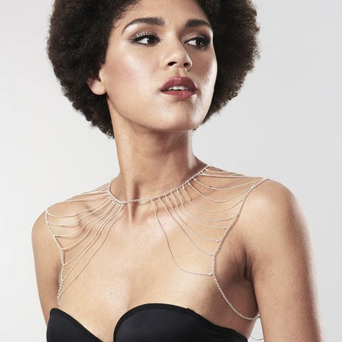 Magnifique Metallic Chain Shoulders and Back Jewellery - Silver - SeriouslySensual