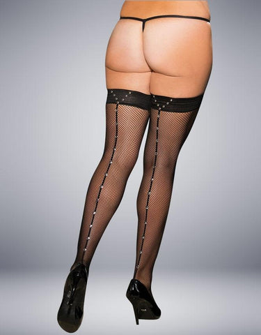 METAL STUDDED BLACK SEAMED HOLD UPS - SeriouslySensual