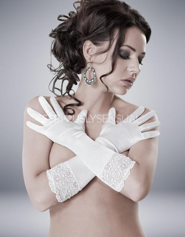 Nora Gloves - White - SeriouslySensual