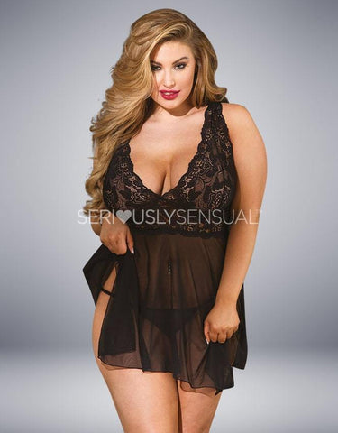 Shirley of Hollywood 96618 Queen Babydoll & Thong Black - SeriouslySensual