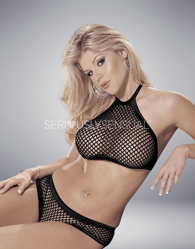 Shirley of Hollywood Black Fishnet Two Piece Set - 96898 - SeriouslySensual