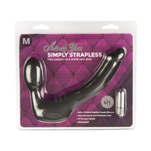 SIMPLY STRAPLESS MEDIUM STRAP ON VIBRATOR - BLACK