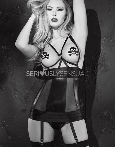 SoH 25568 - Chemise stretch lame with skull pasties - SeriouslySensual