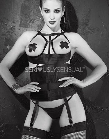 SoH 26944 - Bustier open bust with cross pasties - SeriouslySensual