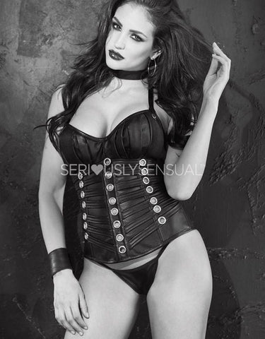 SoH 31065 - Corset Faux leather with grommets - 36 - SALE - SeriouslySensual
