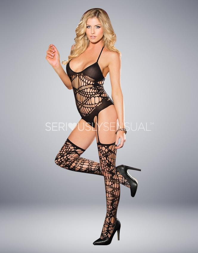 SoH CRAZY NET BODYSTOCKING BLACK - SeriouslySensual