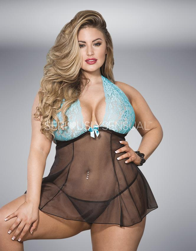 SoH-HL 96622Q Babydoll Turquoise-Black - Plus Size - SeriouslySensual