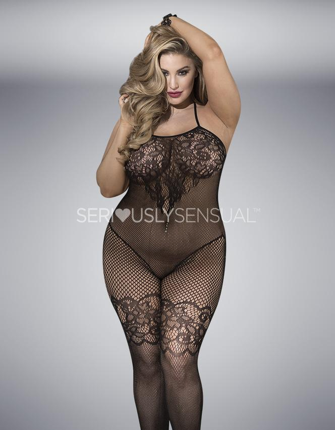 SoH-HS X90388 Bodystocking Black Plus Size - SeriouslySensual