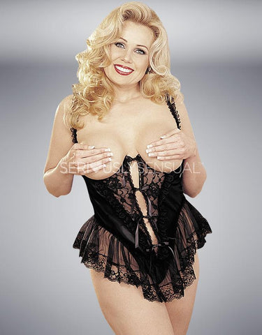 SoH-IA X3900 Satin Open Bust Teddy - Black - SeriouslySensual