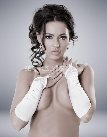Victoria Gloves - White - SeriouslySensual