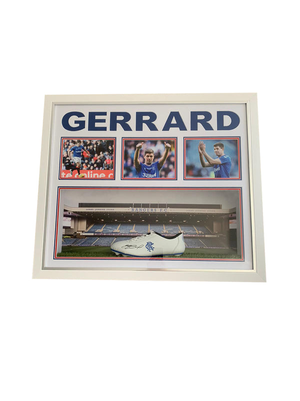 Steven Gerrard Hand Signed Limited Edition Rangers Boot in Light Up Case