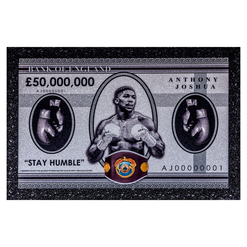 Anthony Joshua Signed Bank Note with WBO Replica Belt