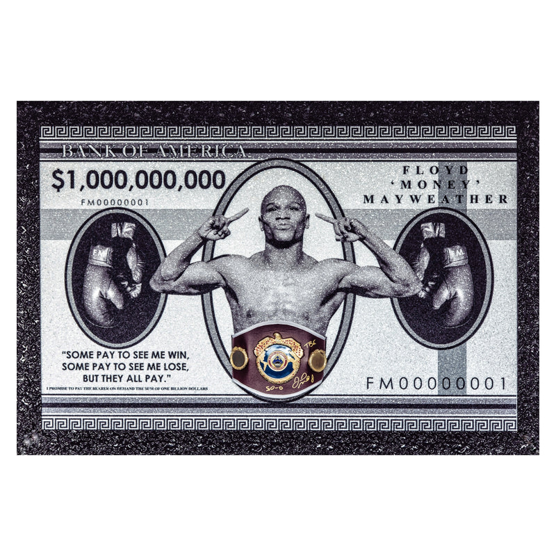 "Floyd ""Money"" Mayweather Billion Dollar Bank Note with Replica WBO Belt"