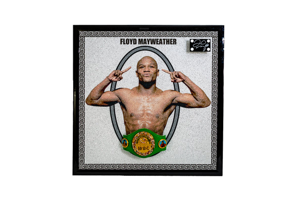 Floyd Mayweather Signed Portrait With 3D WBC Belt