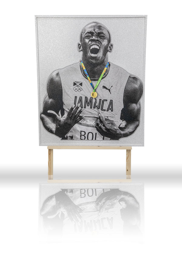 Usain Bolt Replica Olympic Gold Medal Original ASAYSI Piece With LED Frame