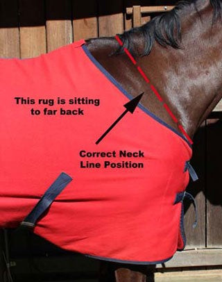 Avoiding Horse Rug Rub Marks - The rug above is sitting too far back behind the withers.