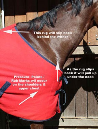 Avoiding Horse Rug Rub Marks - The rug above will slip back behind the wither and pull up higher on the chest under the neck.