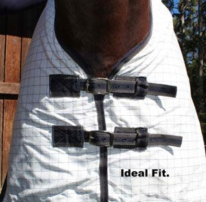 Avoiding Horse Rug Rub Marks - The rug above shows an ideal fit. Both Chest straps done up evenly.