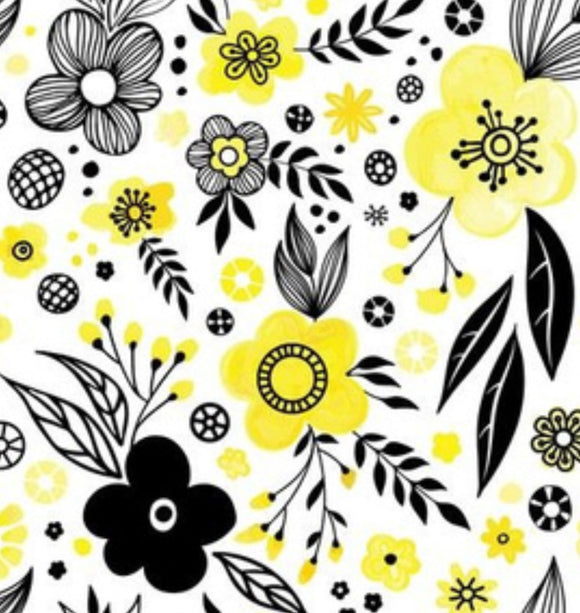 Black and yellow floral | BOOT LEGS