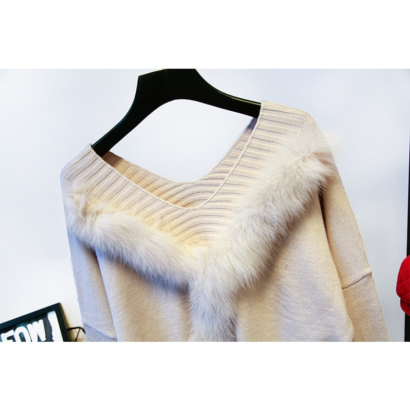 Luxury Cashmere Fur Blends Knitted Sweater Sets Coolchic69
