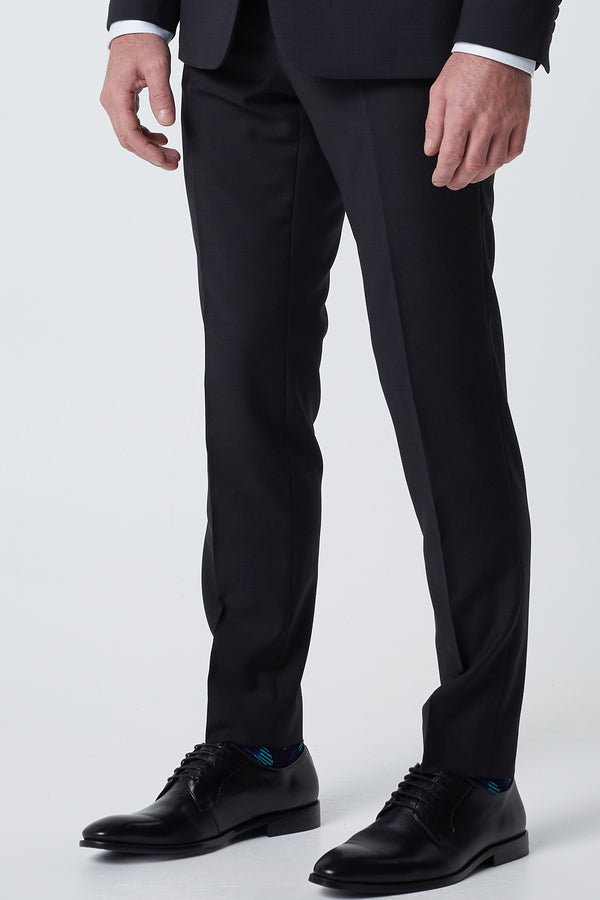 CHARCOAL TEXTURED WOOL BLEND DIAMONDS TRAVEL TROUSER