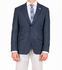 NAVY HERRINGBONE WOOL RICH BLAZER