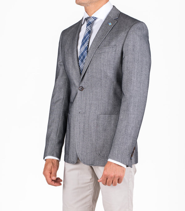 GREY PINPOINT WOOL COTTON APOLLO BLAZER
