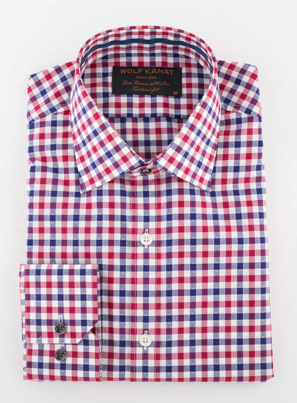RED INDIGO PLAID  COTTON SLIM FIT ROMANOV SHIRT