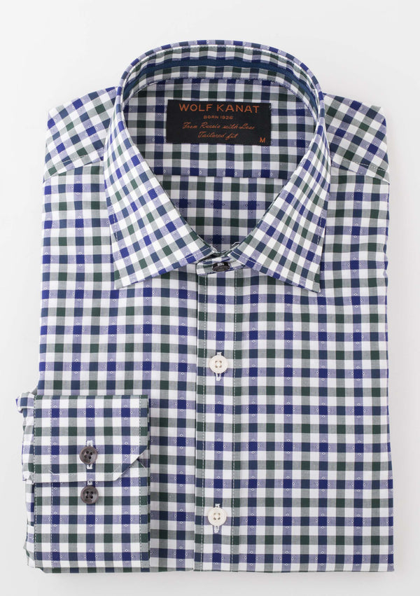 GREEN INDIGO PLAID COTTON SLIM FIT ROMANOV SHIRT