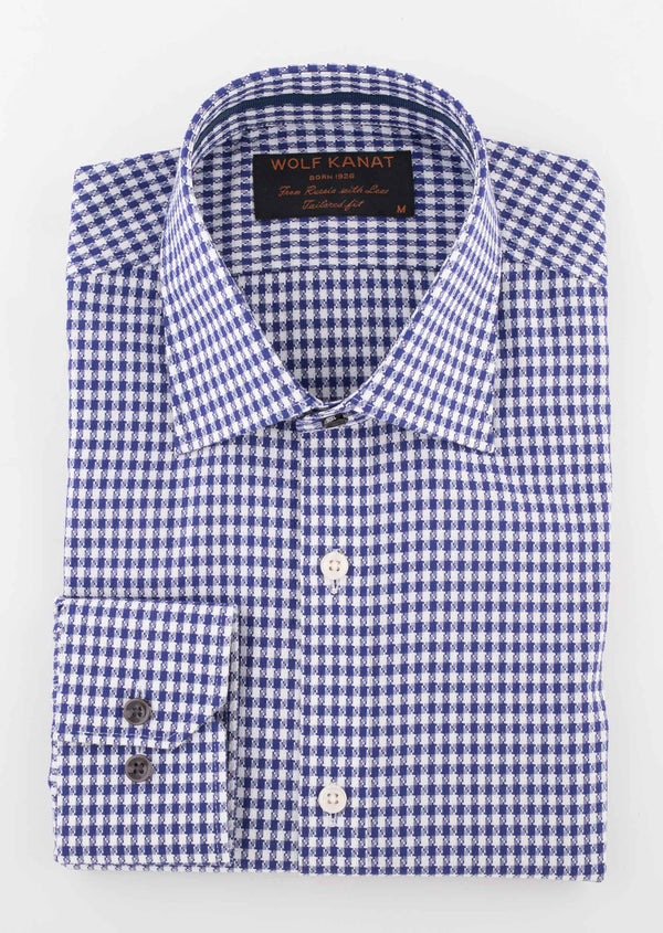 INDIGO CHECK DOBBY COTTON SLIM FIT ROMANOV SHIRT