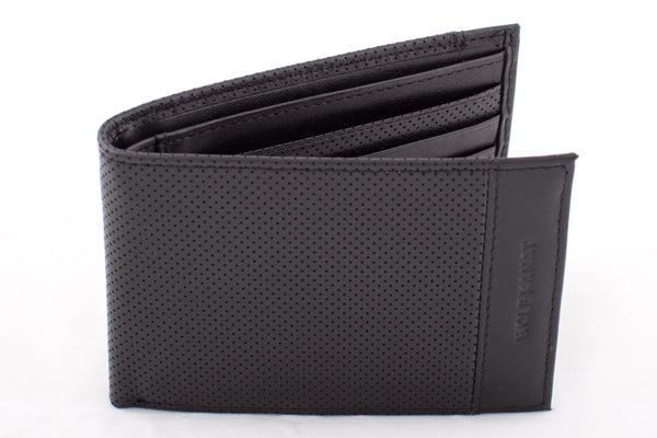 BLACK PERFORATED LEATHER ALHAMBRA WALLET