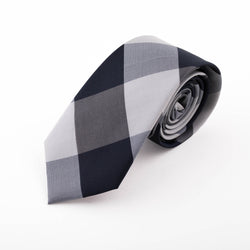 BLACK AND GREY SILK DIAGONAL CHECK ALUSHTA TIE