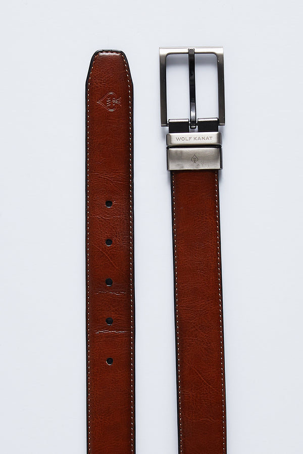 TAN AND NAVY REVERSIBLE LEATHER ALBERT BELT