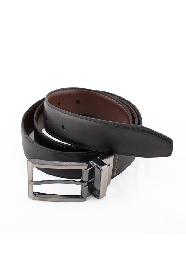 BROWN AND BLACK REVERSIBLE LEATHER ALBERT BELT