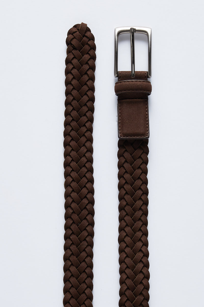BROWN SUEDE WOVEN LEATHER ZAMSHA BELT