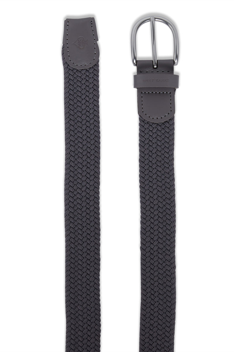 GREY WOVEN STRETCH SALEM BELT