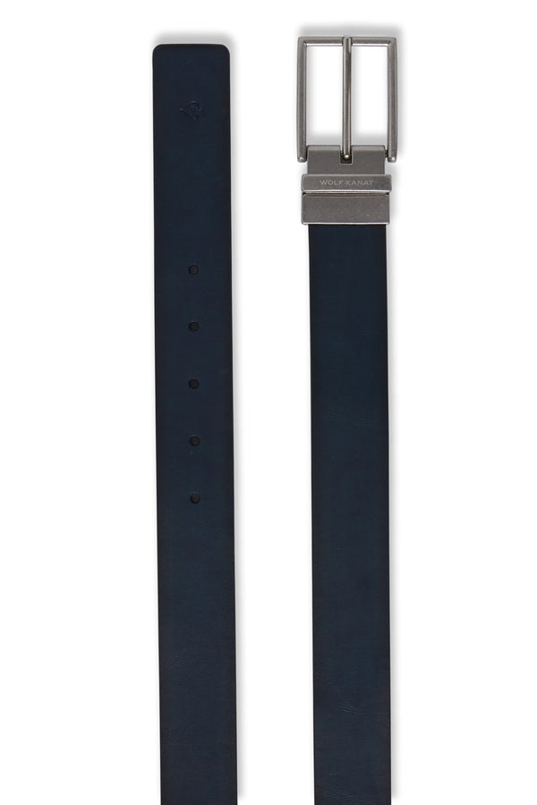 BROWN AND NAVY REVERSIBLE LEATHER RAKIM BELT