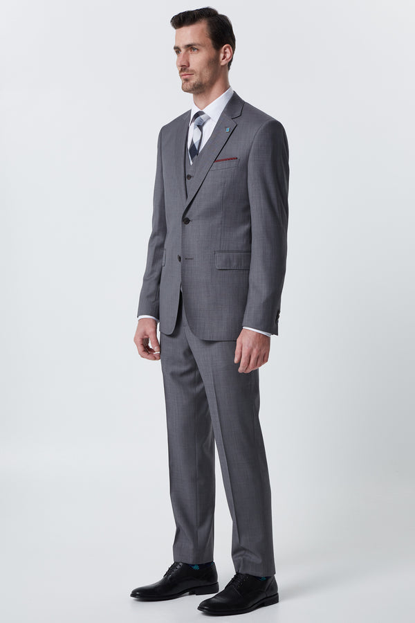 SILVER GREY SUPER 120'S WOOL SHARKSKIN REGULAR FIT CAVIAR JACKET