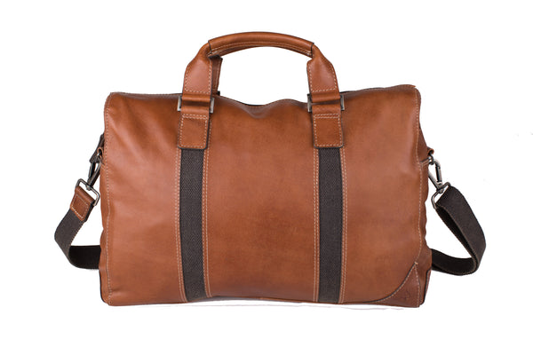 TAN LEATHER HOLDALL TRAVEL BAG