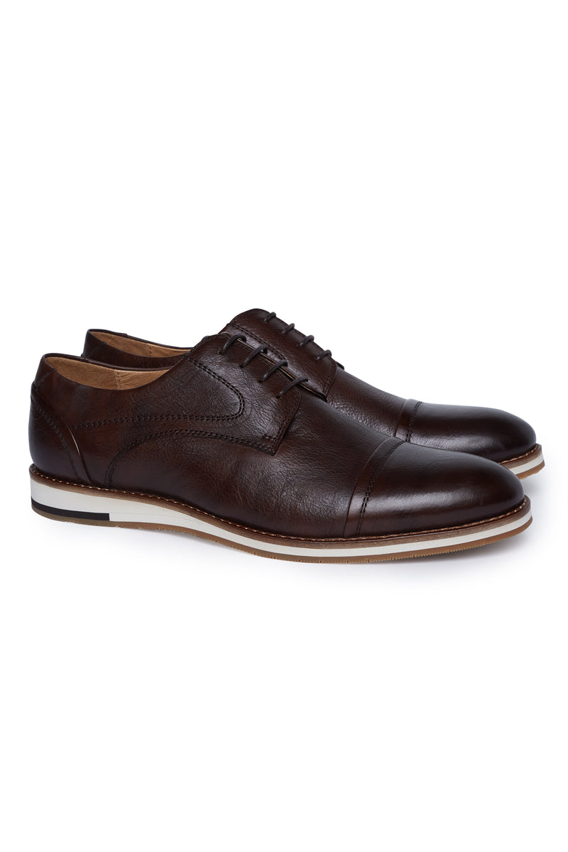 CHOCOLATE BROWN LEATHER DERBY SHOE