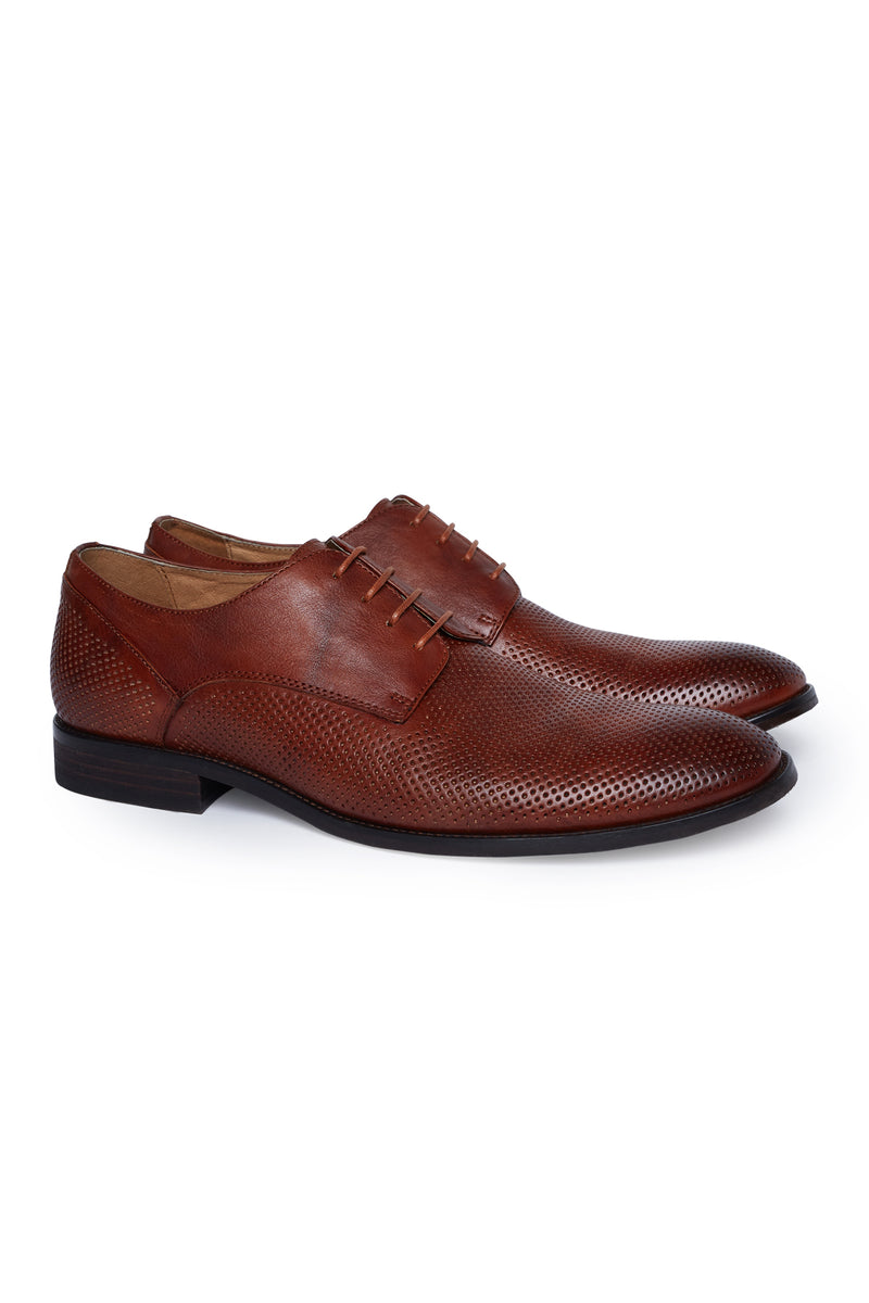 TAN LEATHER PERFORATED DRESS SHOE
