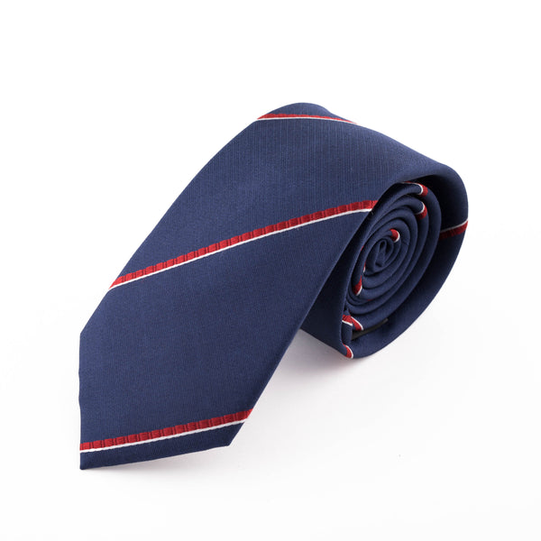 NAVY AND RED CLUB STRIPE SILK FEODOSIA TIE