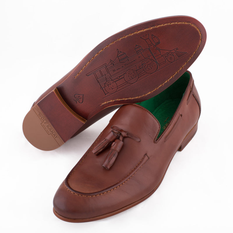 TAN LEATHER TASSELLED LOAFER