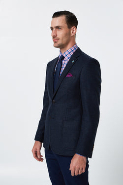 NAVY AND BROWN HERRINGBONE MELANGE WOOL RODION BLAZER