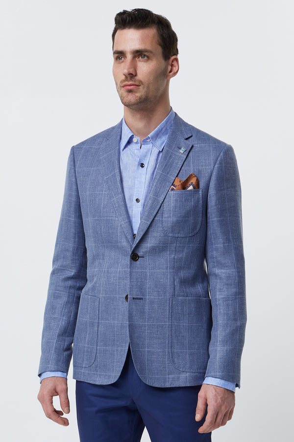 LIGHT BLUE LINEN WOOL SILK BLEND CHECK BLAZER