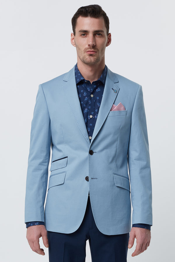 LIGHT BLUE COTTON STRETCH REGULAR FIT BLAZER