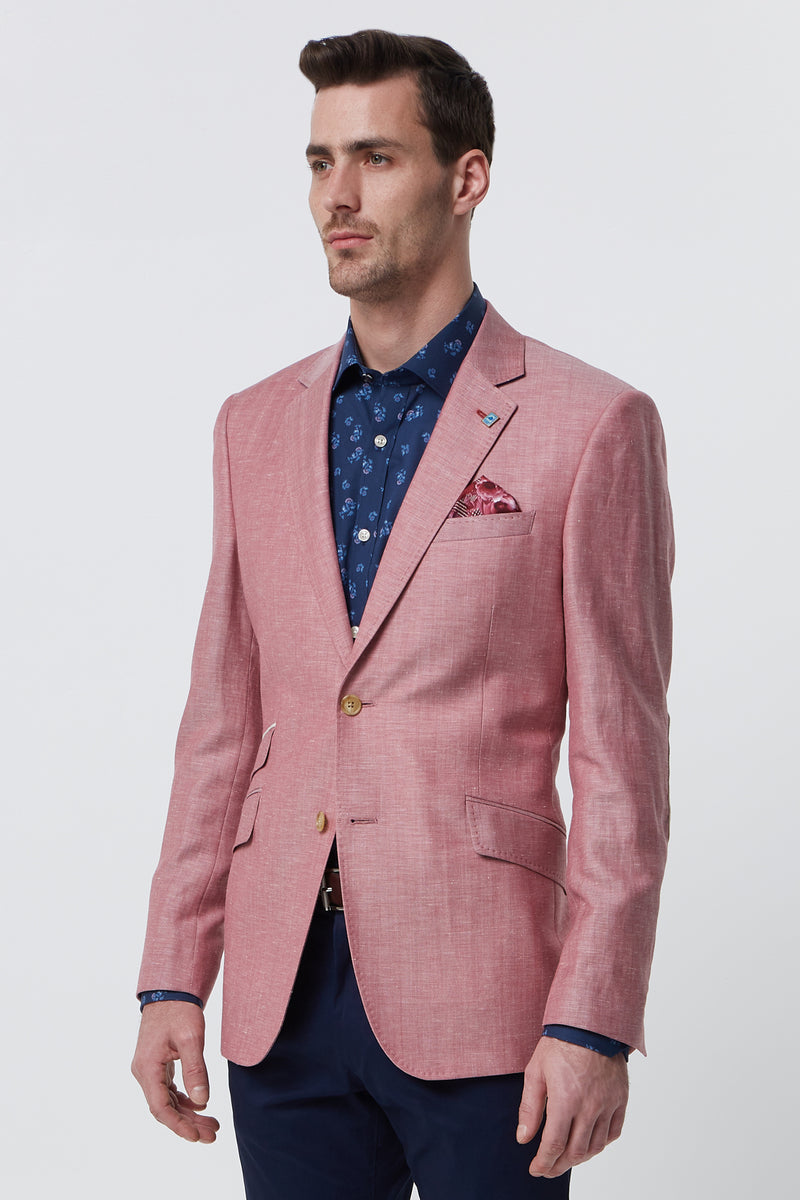 RED WOOL LINEN HERRINGBONE REGULAR FIT BLAZER